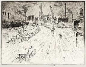 "Joseph Pennell, Etching, ""Tracks, Oberhausen"" 1910"