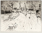 "Joseph Pennell, Etching, ""Tracks, Oberhausen"" 1910"