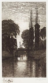 "Charles Mielatz, Etching, ""The Old Watermill"" 1886"
