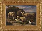 """Eugene Remy Maes, """"Landscape with Sheep and Chickens"""""""
