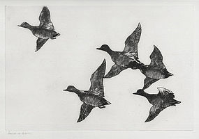 "Frank Benson, Etching, ""Flying Widgeon"" 1924"