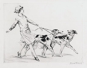 "Diana Thorne, Etching, ""Russians"", c. 1930"