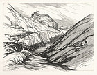 "Roi George Partridge, Etching, ""The Donner Summit"""