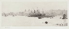 "William Wyllie, Etching, ""Sugar Boats off Greenwich"""
