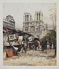 """Luigi Kasismir, Etching, """"Paris, Notre-Dame"""" 1930"""