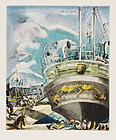 "Hermine David, Etching, ""Le Yacht Mallorca"", c. 1929"