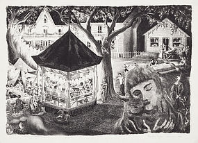 "Prentiss Taylor, Lithograph, ""Women's Club Carnival"", 1950"