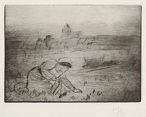 "Louis Auguste Mathieu Legrand, Etching, ""Le Mee"" 1911"
