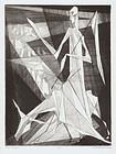 "Isaac Friedlander, Etching, ""The Messenger"", 1953"