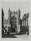 "Francis Hopkinson Smith, Etching, ""Bath Abbey"""
