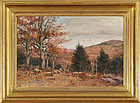 "William Preston Phelps, oil on canvas, ""Fall Landscape with Sheep"""