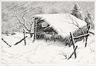"""Ronau William Woiceske, Etching, """"Refuge"""" c. 1940"""
