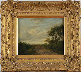 "19th Century Dutch School, Oil on Panel, ""Travelers on a Country Road"""