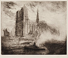"Auguste Louis Brouet, Etching, ""Notre Dame from the Siene"" 1897"