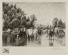 "Peter Moran, Etching, ""Noonday"", 1887"