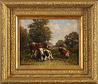 "George Arthur Hays, oil on canvas, ""Pastoral Landscape With Cows"""