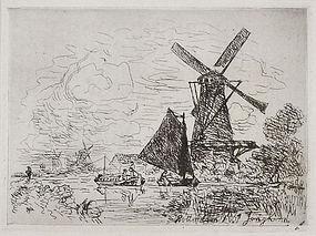 """Johan Barthold Jongkind, Etching, """"Moulins en Holland"""" 1861"""