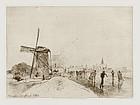 """Johan Barthold Jongkind, Etching, Vue de la Ville de Maaslins"""" 1862"""