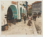 "Tavik F. Simon, Color Etching, ""From the Coal Market, Prague"""