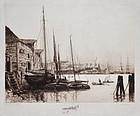 "Stephen Parrish, etching, ""Quebec"", 1887"