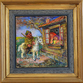 "David Burliuk, oil on canvasboard, ""Russian Soldier on a Horse"""