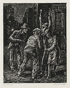 "Albert Abramovitz, Linocut, ""The Hold Up"""