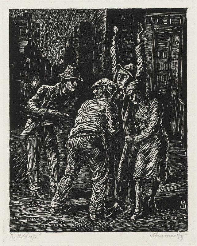 "Albert Abramovitz, Linocut, ""The Hold Up"""