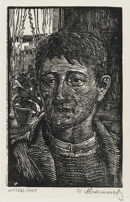 "Albert Abramovitz, Linocut, ""Worker's Head"""