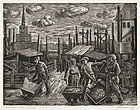 "Albert Abramovitz, Linocut, ""Construction Work, Moscow"""