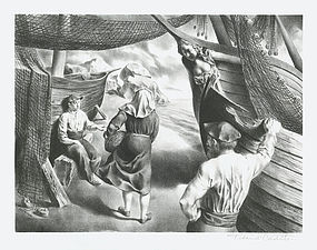 "Federico Castellon, Lithograph, ""By the Arks"", 1941"