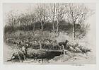 """John Austin Sands Monks, etching, """"Herd Returning Home"""""""