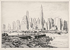"James McBey, etching, ""New York Harbor"" 1941"