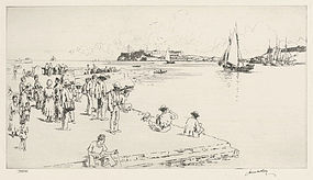 "James McBey, etching, ""Havana Harbor"" 1940"