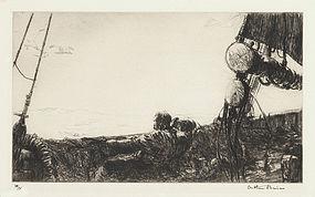 "Arthur J. T. Briscoe, etching, ""Hauling the Net Aboard"" 1926"