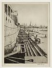 "Arthur J. T. Briscoe, etching, ""Drydock"" 1928"