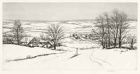 "Kerr Eby, etching, ""New England Winter"" 1930"