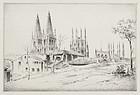 """John Taylor Arms, etching, """"Burgos"""" 1924"""