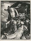 """Sir Frank Brangwyn, lithograph, """"Making Sailors: The Gun"""" 1917"""