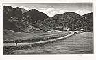 "Asa Cheffetz, wood engraving, ""The Road Home"", c. 1948"