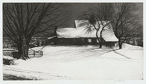 "Kerr Eby, etching, ""Driftway, Moonlight"" 1931"