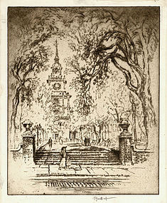 "Joseph Pennell, etching, ""The Square"" 1920"