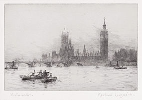 "Rowland Langmaid, etching, ""Westminster"" c. 1930"
