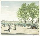 """Tavik Frantisek Simon, etching, """"Quai Voltaire au Printemps"""""""