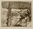 "August-Louis Lepere, etching, ""Under the Bridge of Bercy"" 1894"