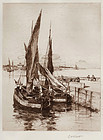 "Charles Adams Platt, etching, ""Quay at Honfleur"" 1888"