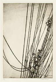 "Arthur J. T. Briscoe, etching, ""The Main Rigging"" 1928"