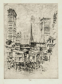 "Jospeh Pennell, etching, ""Trinity Church, From the River"" 1904"