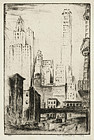 """Walter Drewes, etching, """"52nd Street and Third Avenue"""" 1931"""