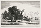 "Thomas W Nason, engraving, ""Amston Pond"" 1947"