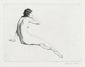 "Warren Davis, etching, ""The Echo"" c. 1920"